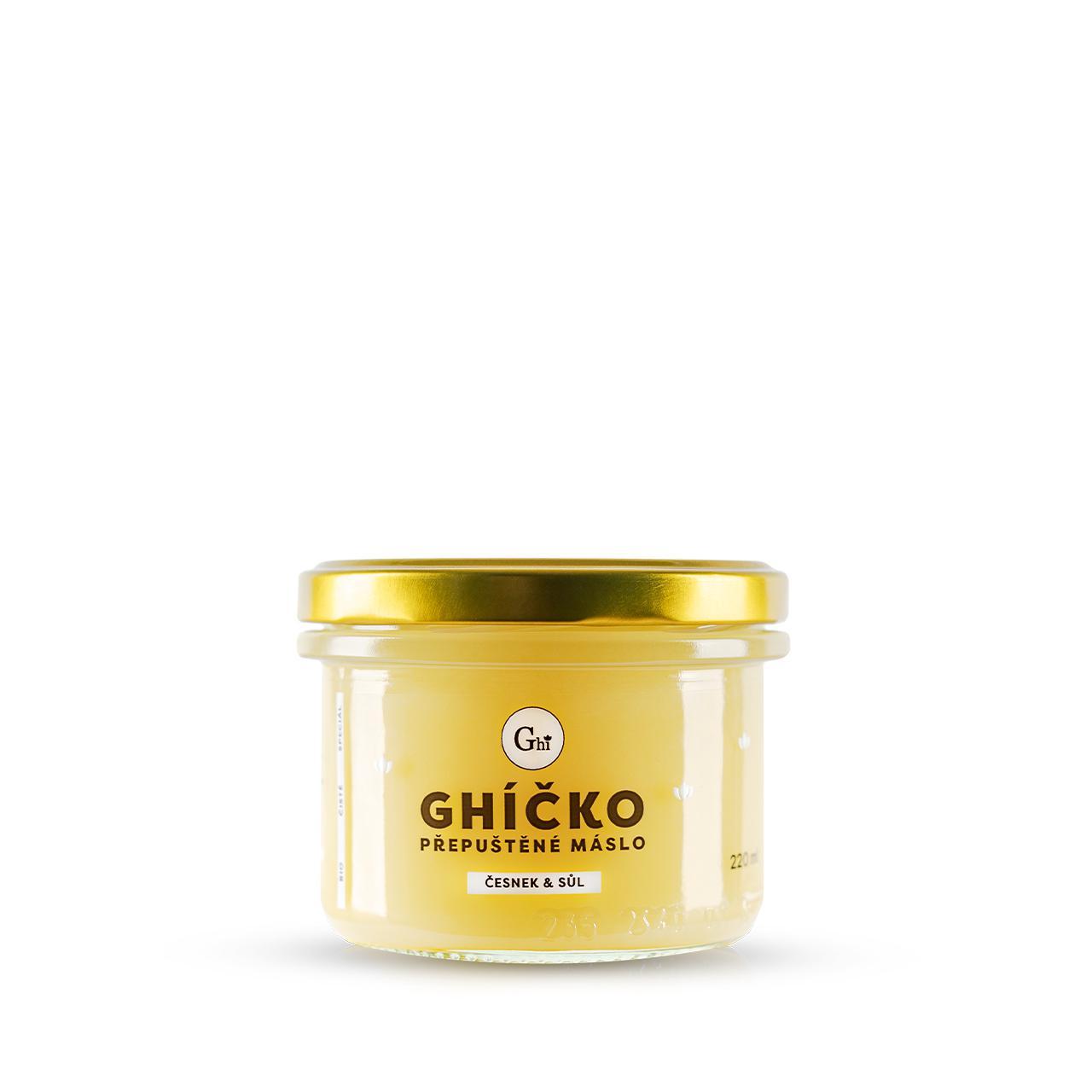Ghí přepuštěné máslo 220ml speciál česnek & sůl